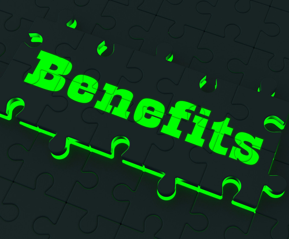 Benefits Puzzle Showing Monetary Compensation