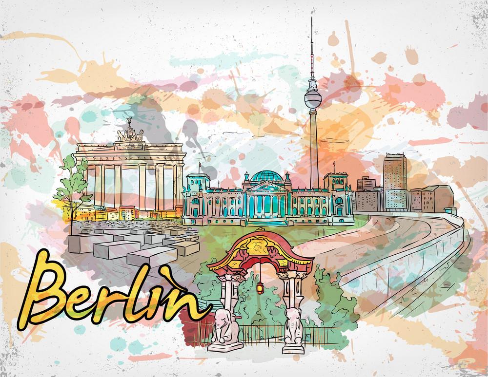 Berlin Doodles With Grunge Vector Illustration