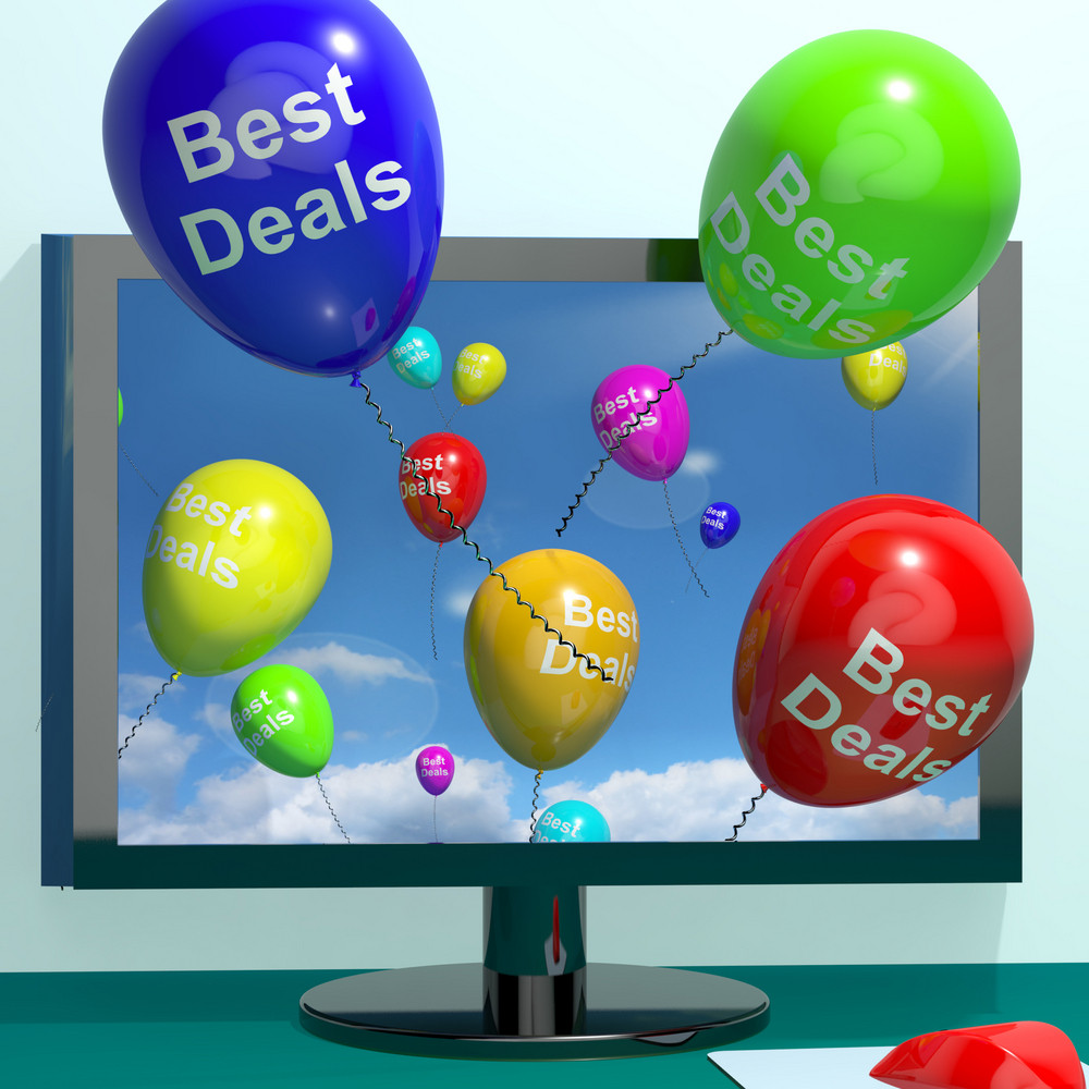 Best Deals Balloons From Computer Representing Bargains Or Discounts Online