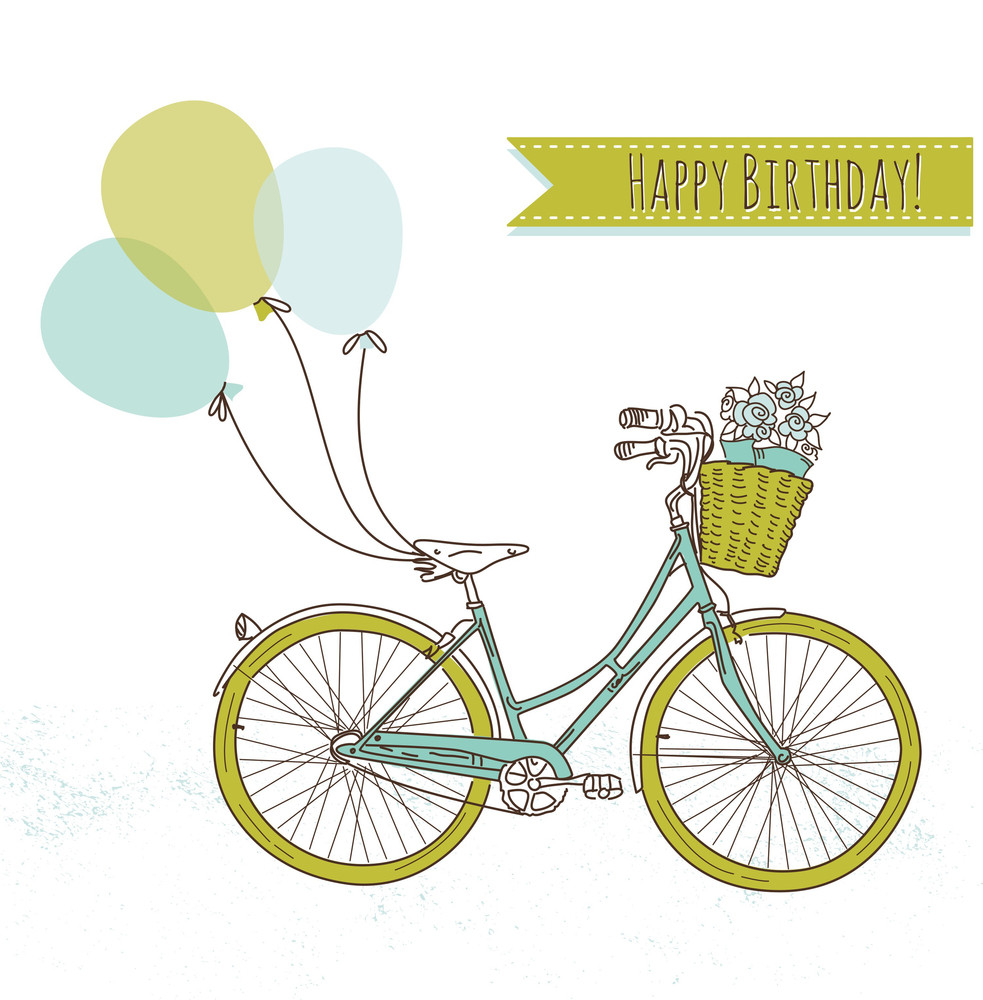 Bicycle With Balloons And A Basket Full Of Flowers