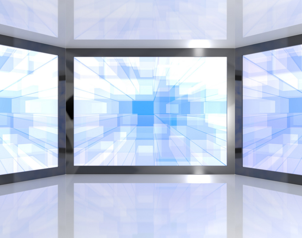 Big Blue Tv Monitors Wall Mounted Representing High Definition Televisions Or Hdtvs