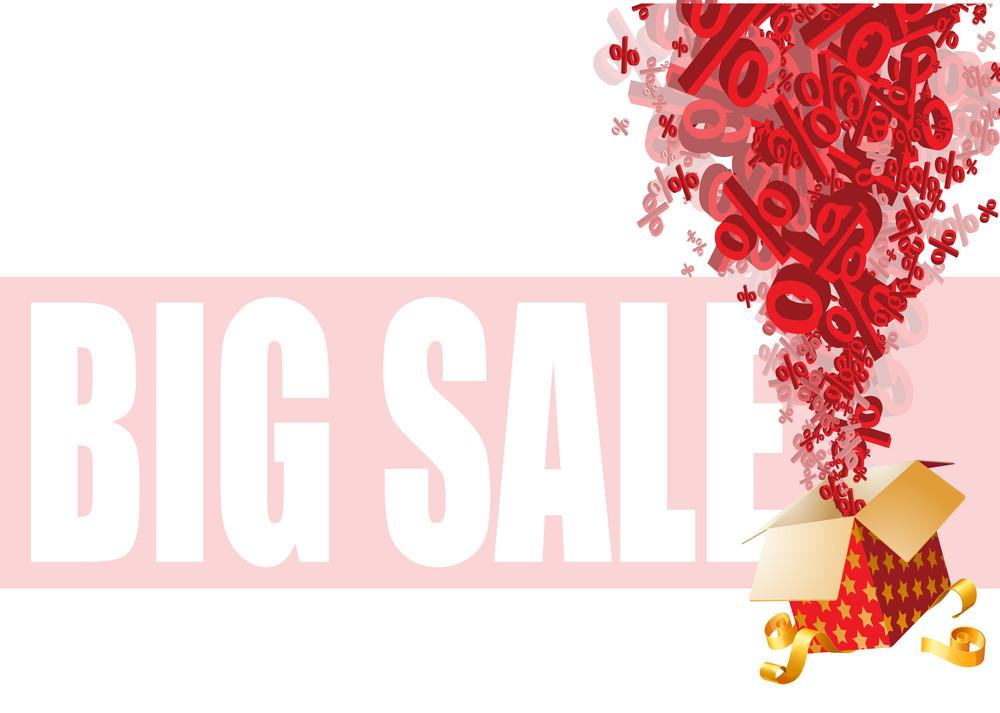 Big Christmas Magic Box Sale. Vector.