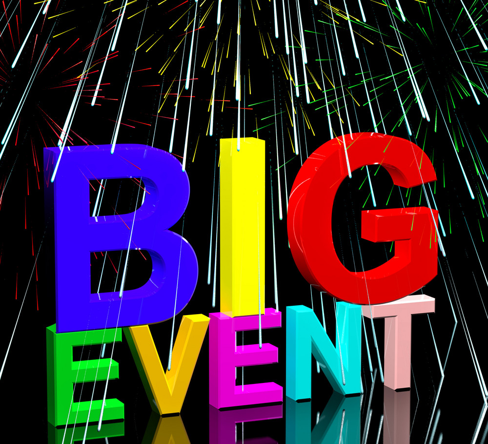 Big Event Words With Fireworks Showing Upcoming Festival Concert Or Occasion
