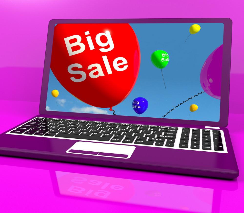 Big Sale Balloon On Laptop Shows Online Discounts