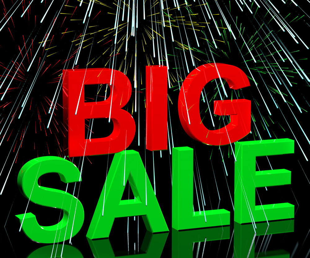 Big Sale Word And Fireworks Showing Promotion Discount And Reductions