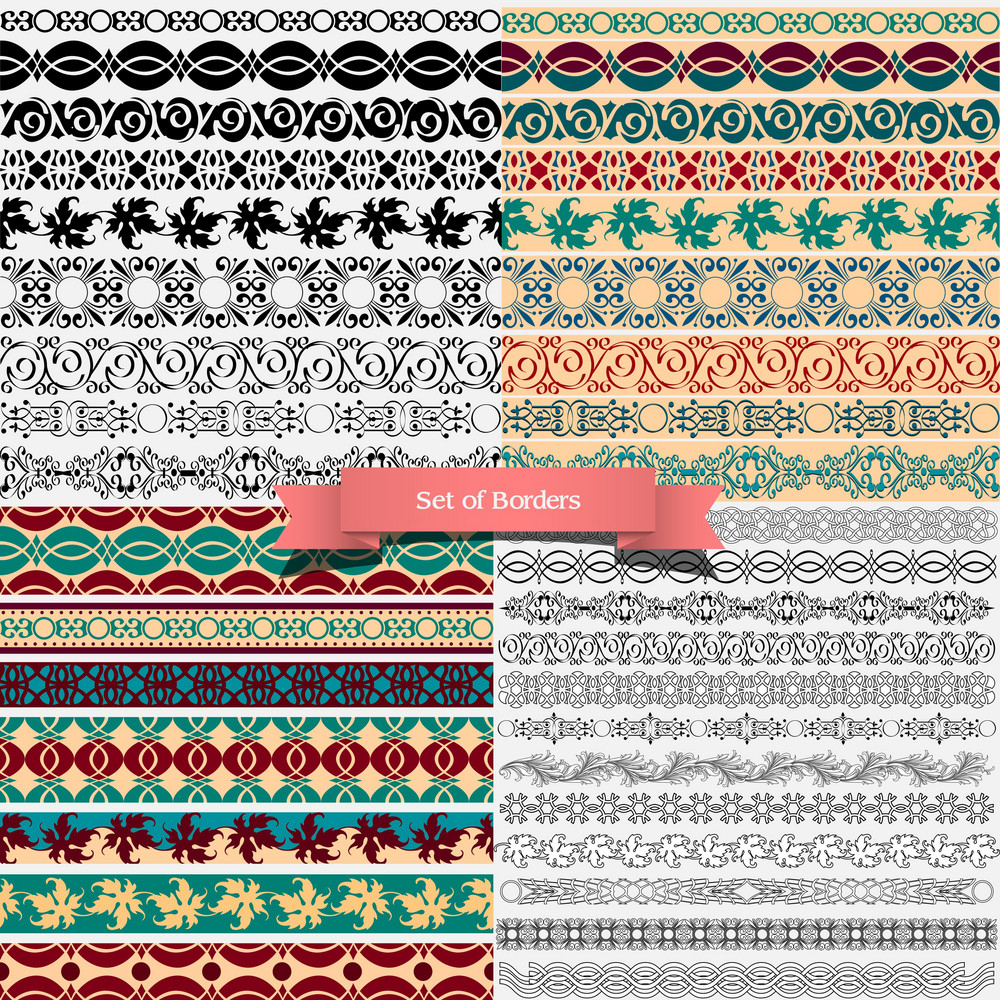 big set of of vintage borders for design royalty free stock image