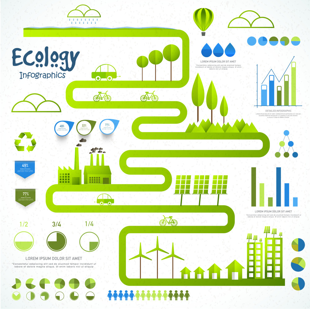 Big set of various Ecological Infographic elements with view of a green urban city