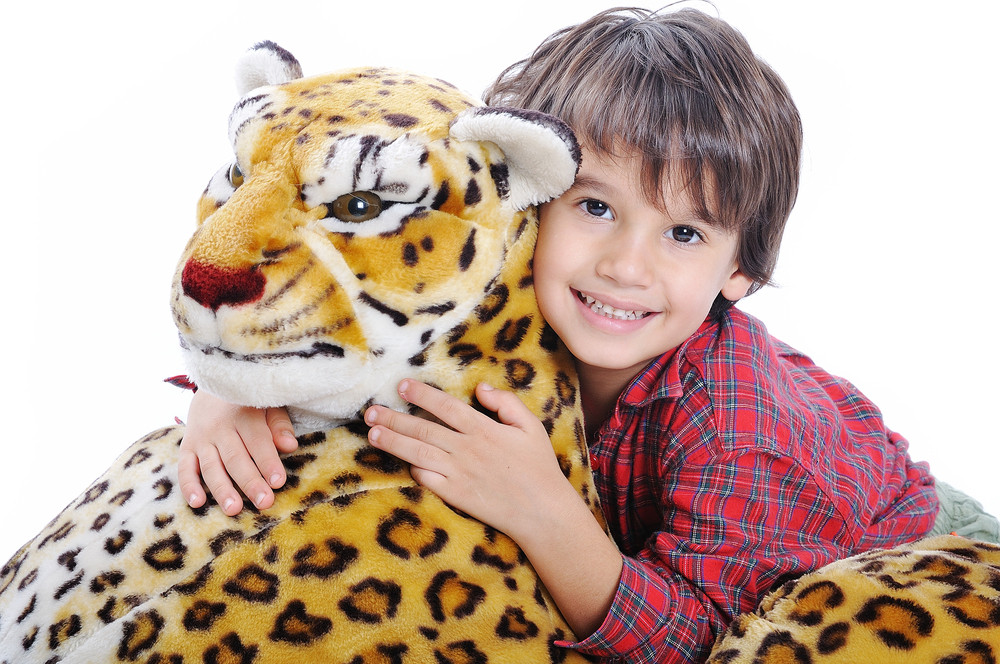 Big wild animal but toy on isolated background