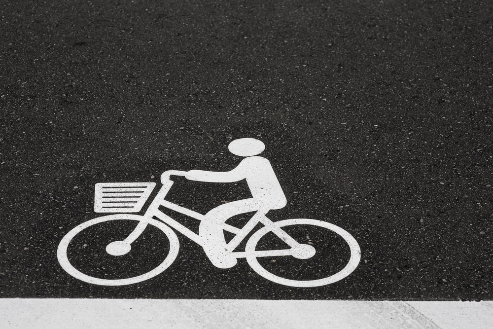 Bike sign logo on the road.