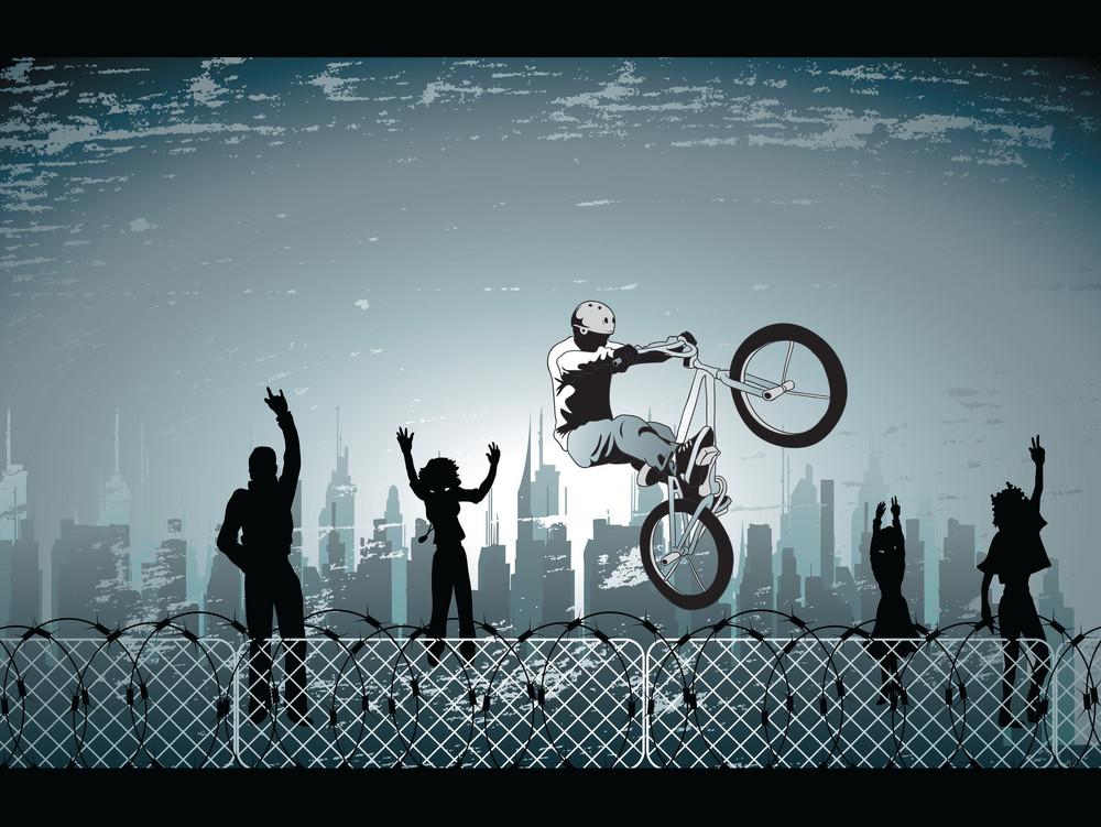 Biker With City