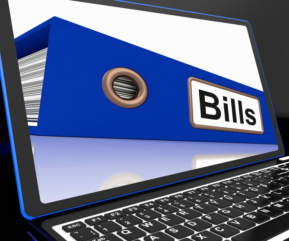 Bills File On Laptop Showing Due Payments