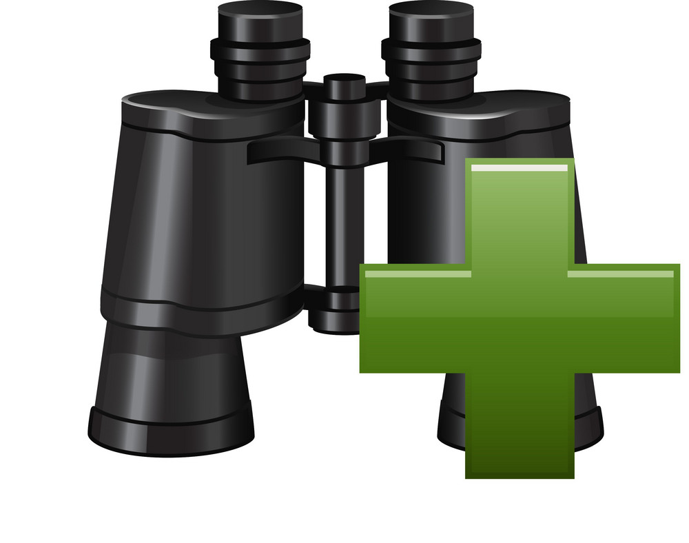 Binoculars With Plus Sign