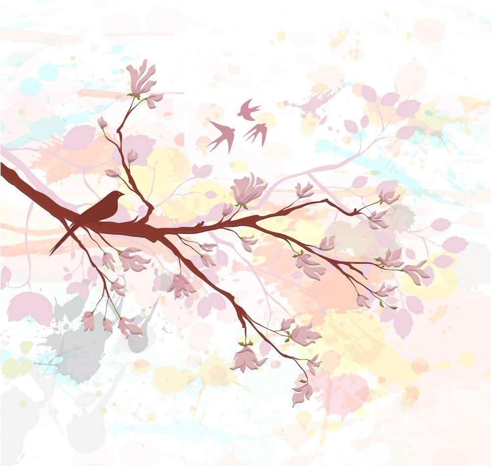 Bird On A Branch Vector Illustration
