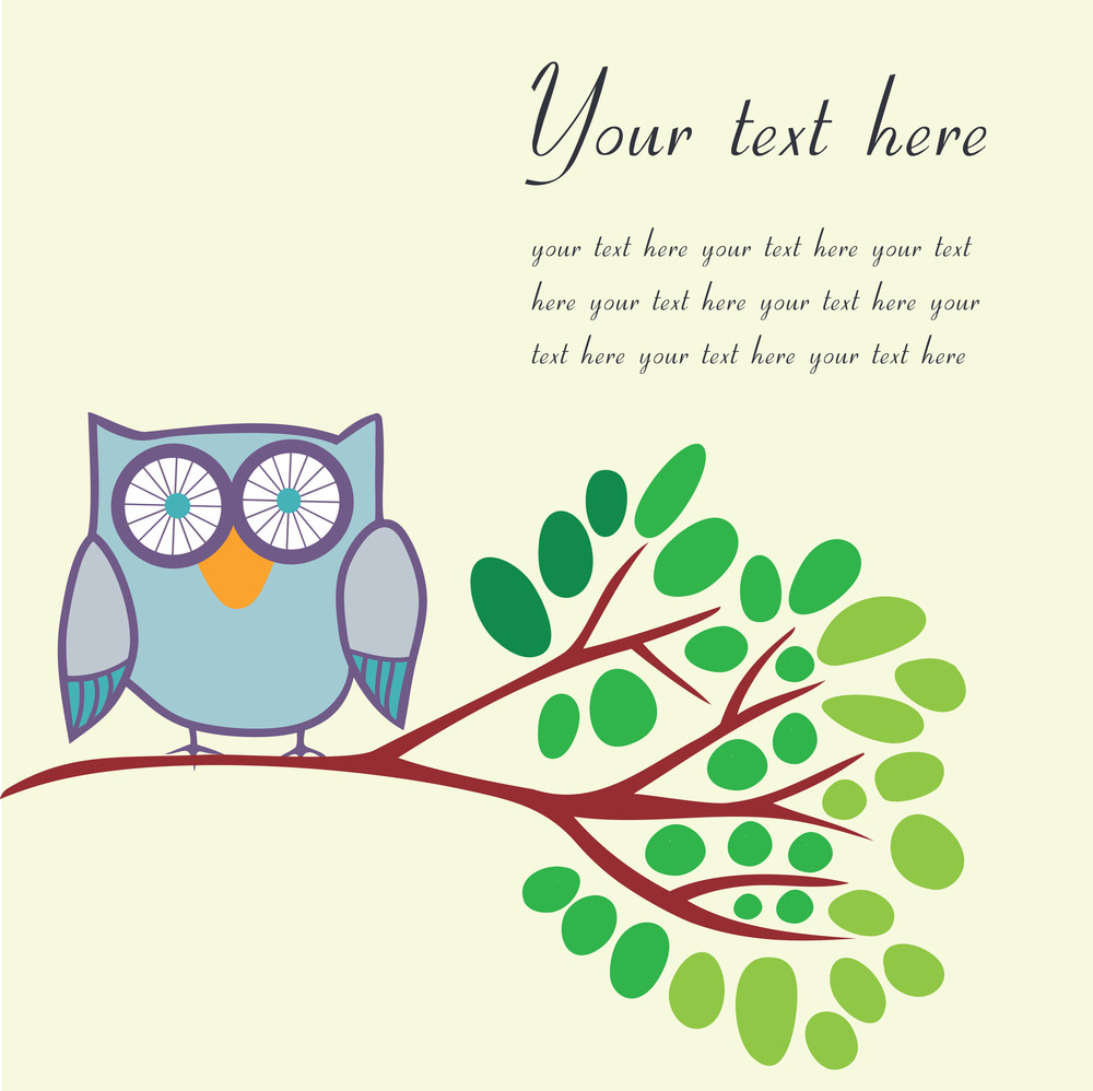 Bird On A Branch With Place For Your Text. Vector Illustration.