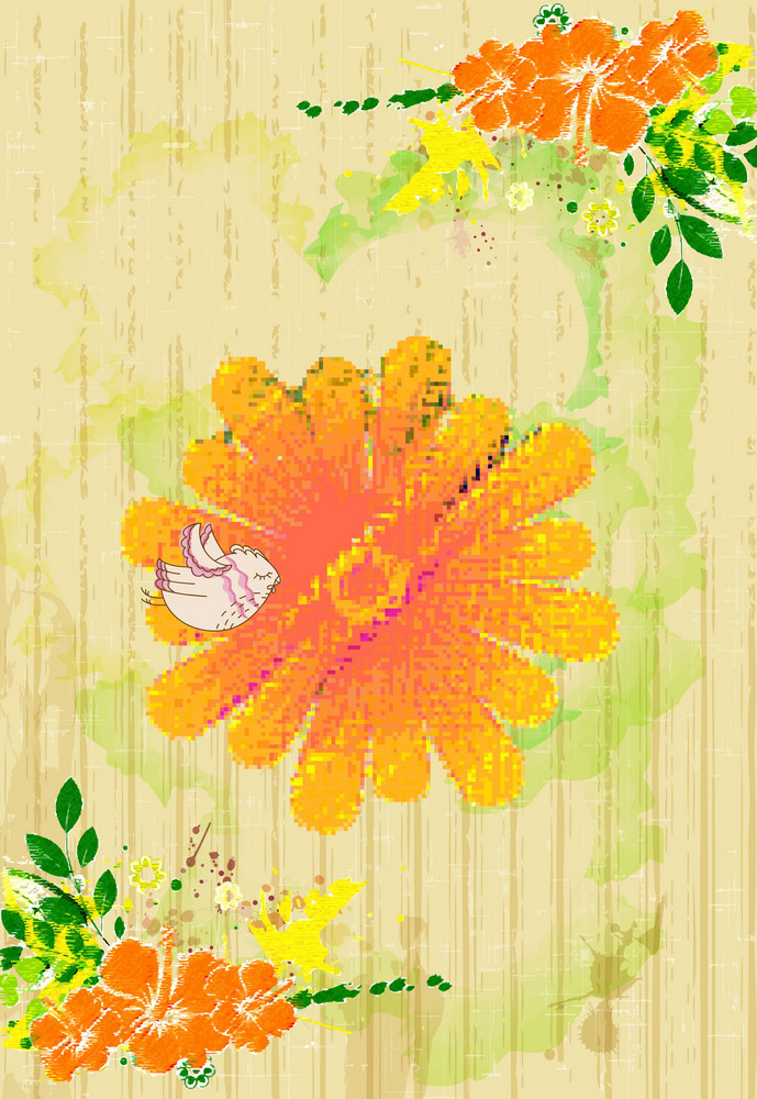 Bird With Colorful Floral Vector Illustration