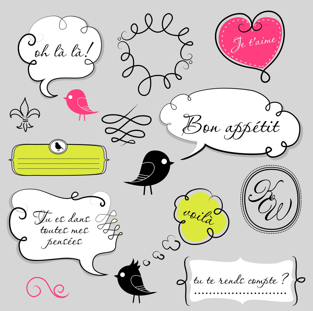 Birds And Speech Bubbles Set