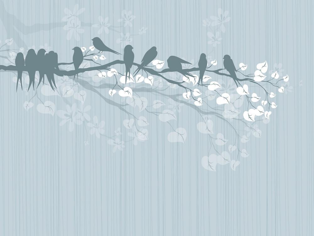Birds On A Branch Vector Illustration