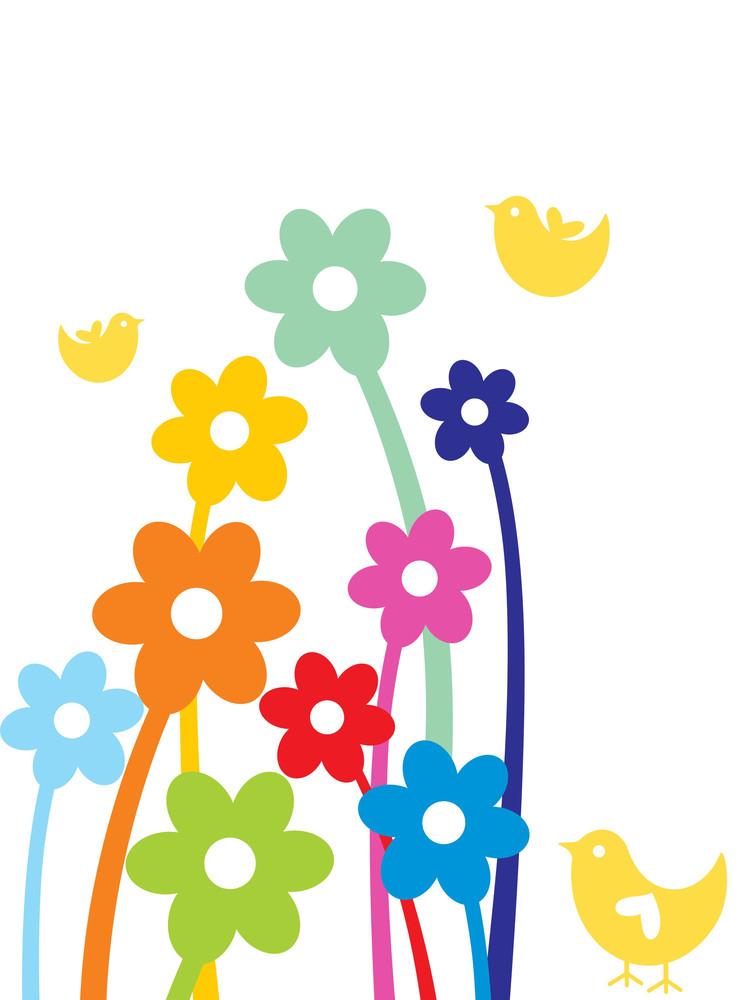 Birds With Flower