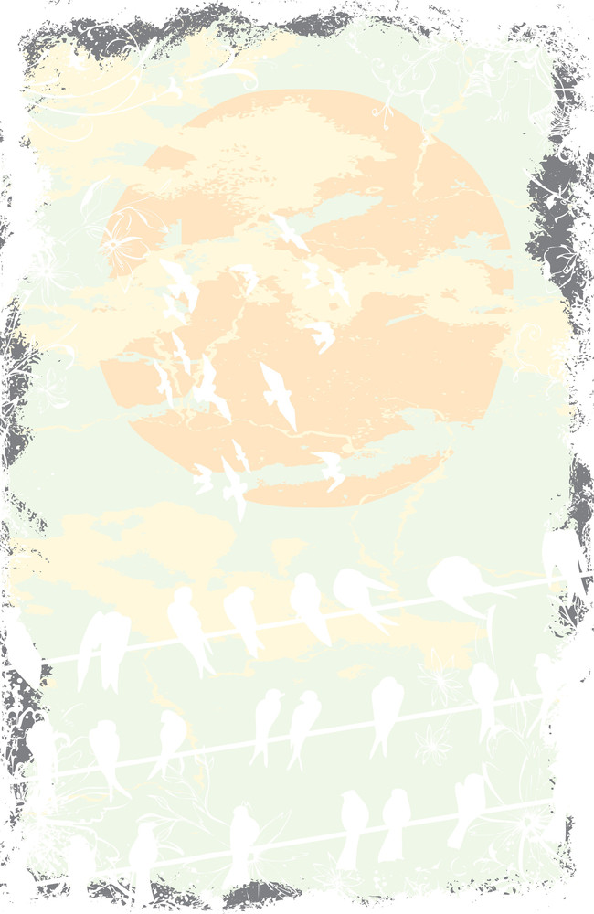 Birds With Grunge Vector T-shirt Design