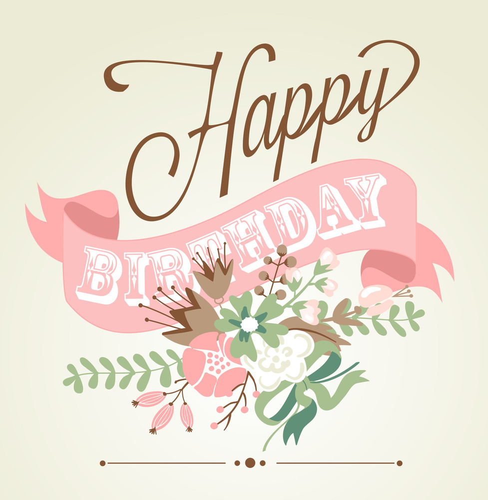 Birthday Card In Chalkboard Calligraphy Style With Cute