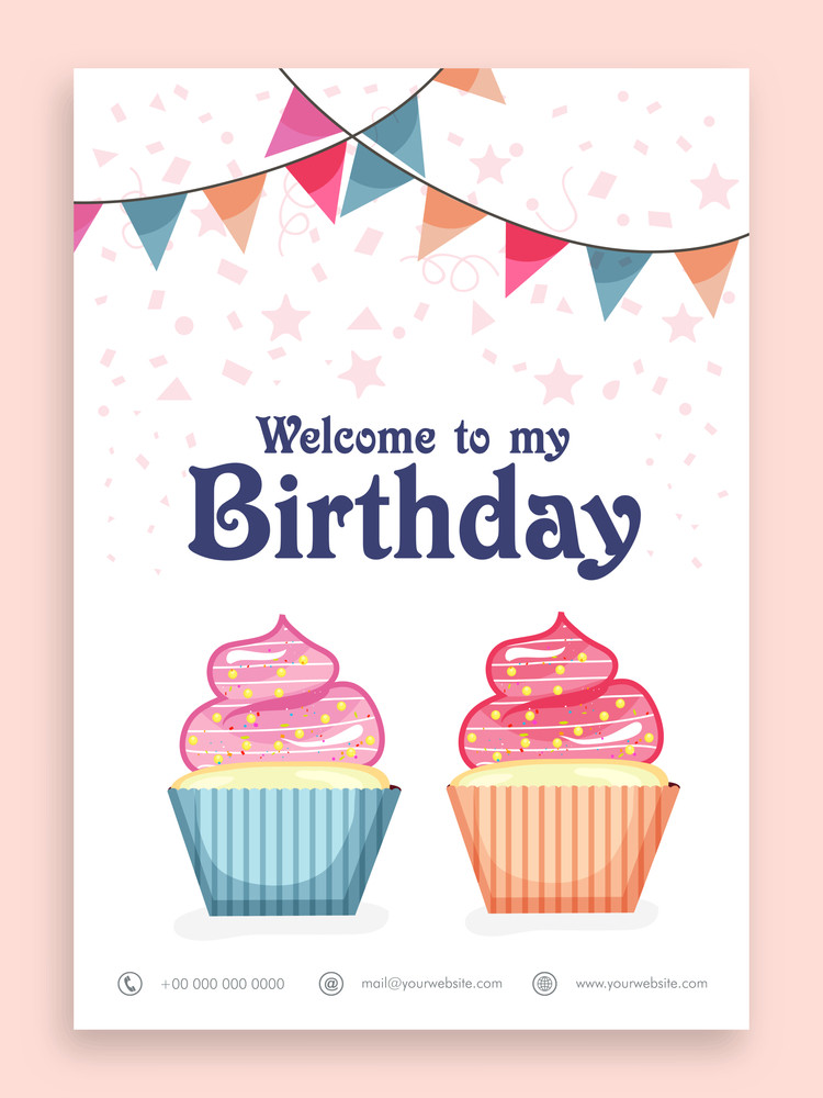Birthday Party Celebration Welcome Card Or Invitation Design With Sweet Cupcakes And Colorful Bunting Decoration
