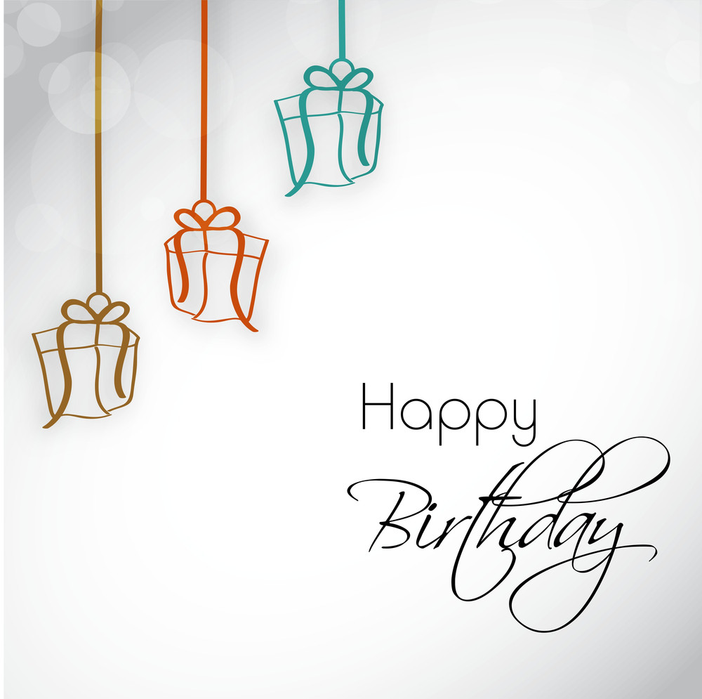 birthday party invitation letter or greeting card with hanging gift boxes and stylish text on shiny background