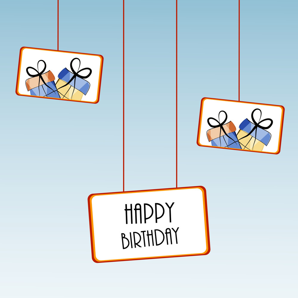 Bithday Party Wallpaper With Beautiful Hangings Of Gift Bags And Happy Bithday Text On Blue Background