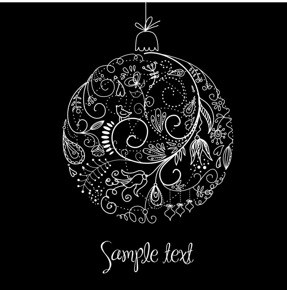 Black And White Christmas Ball Illustration.-