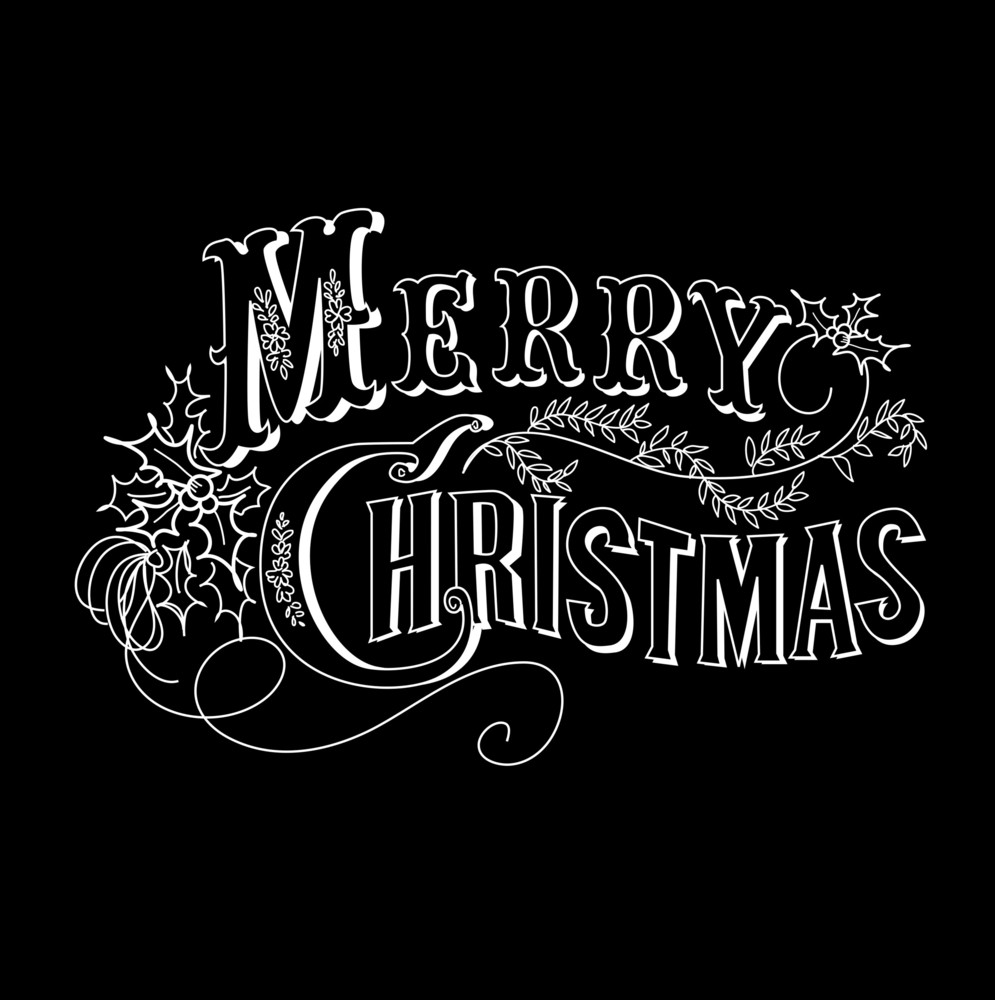 Merry Christmas Images Black And White.Black And White Christmas Card Merry Christmas Lettering