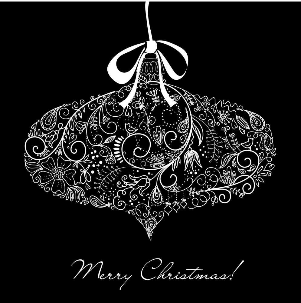 Black And White Christmas Ornament Illustration.