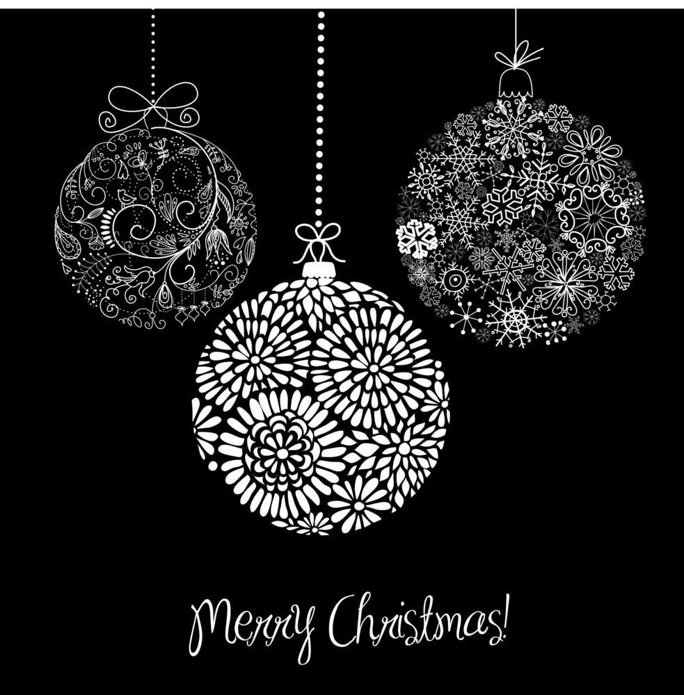 Black Christmas Ornaments.Black And White Christmas Ornaments Royalty Free Stock Image