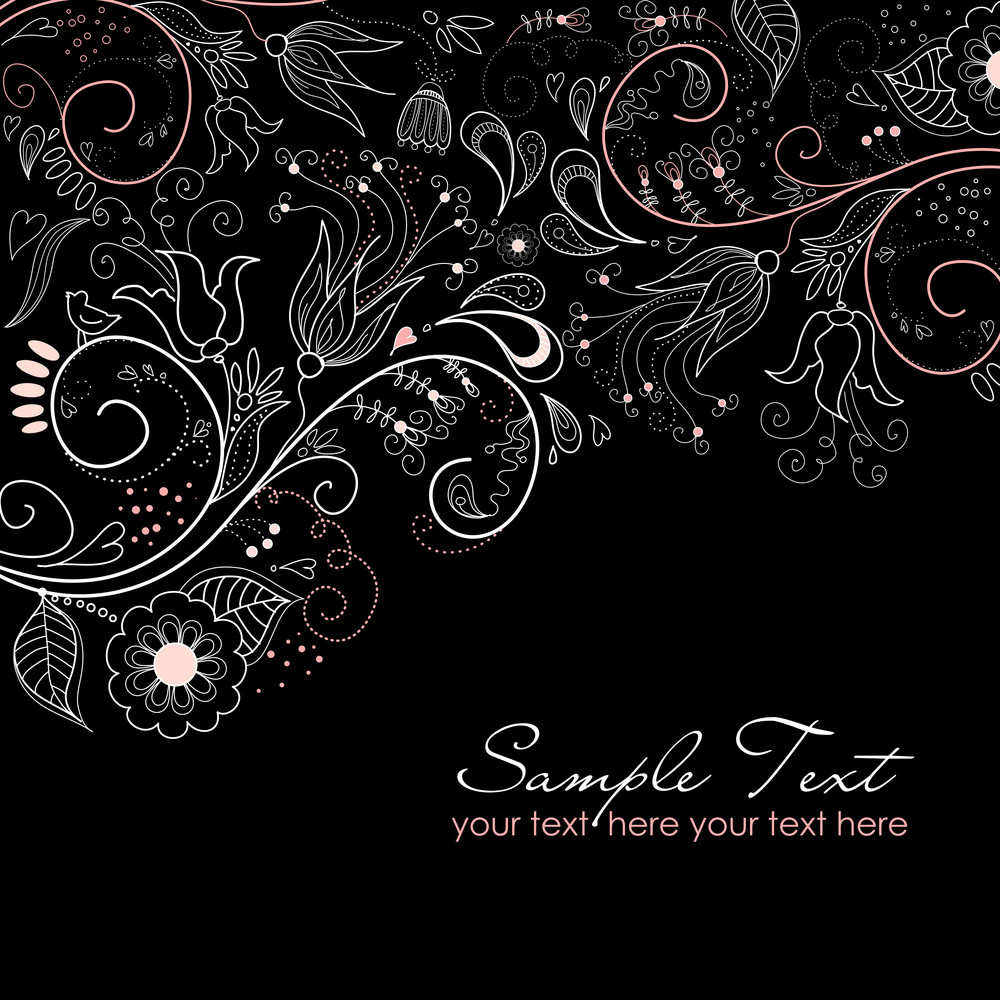 Black And White Floral Background-