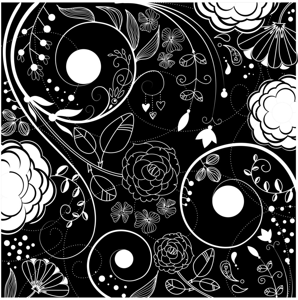 Black And White Floral Background Royalty Free Stock Image