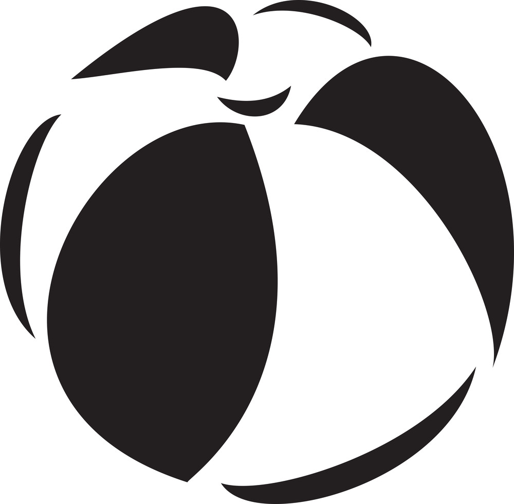 Black And White Illustration Of A Beach Ball.