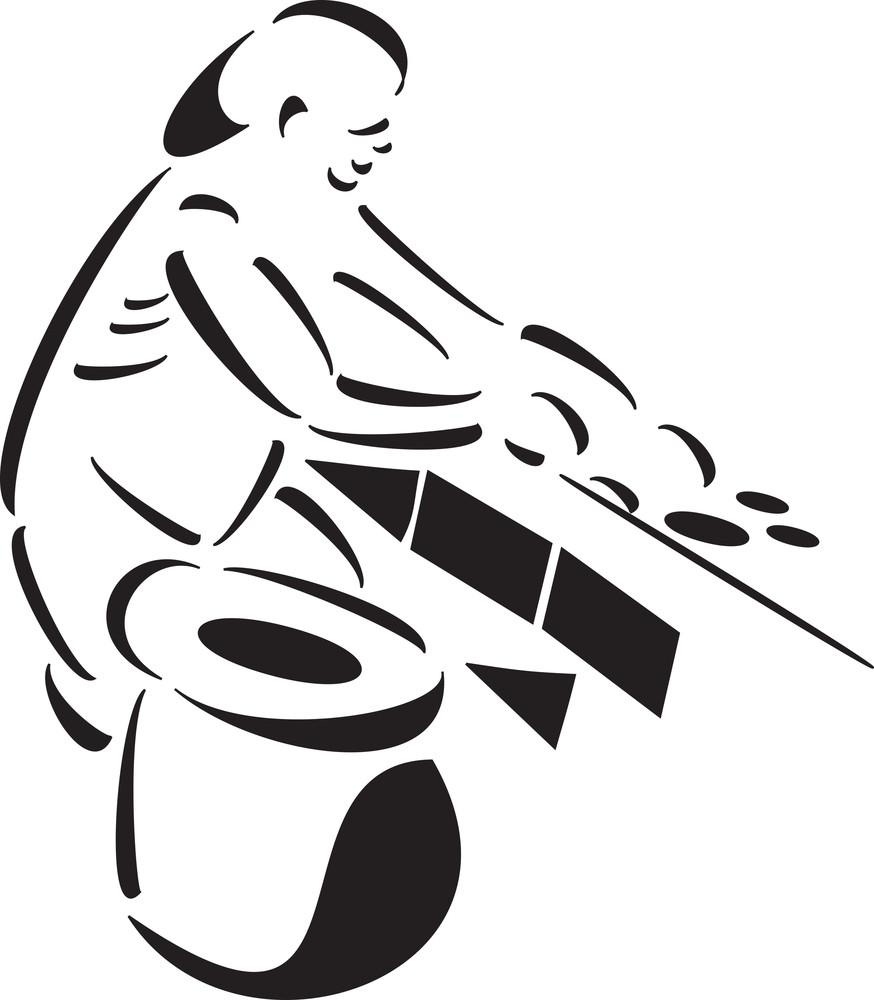 Black And White Illustration Of A Gardener.