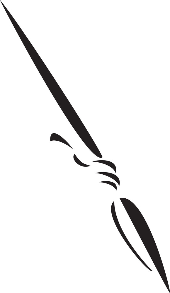Black And White Illustration Of A Spear.