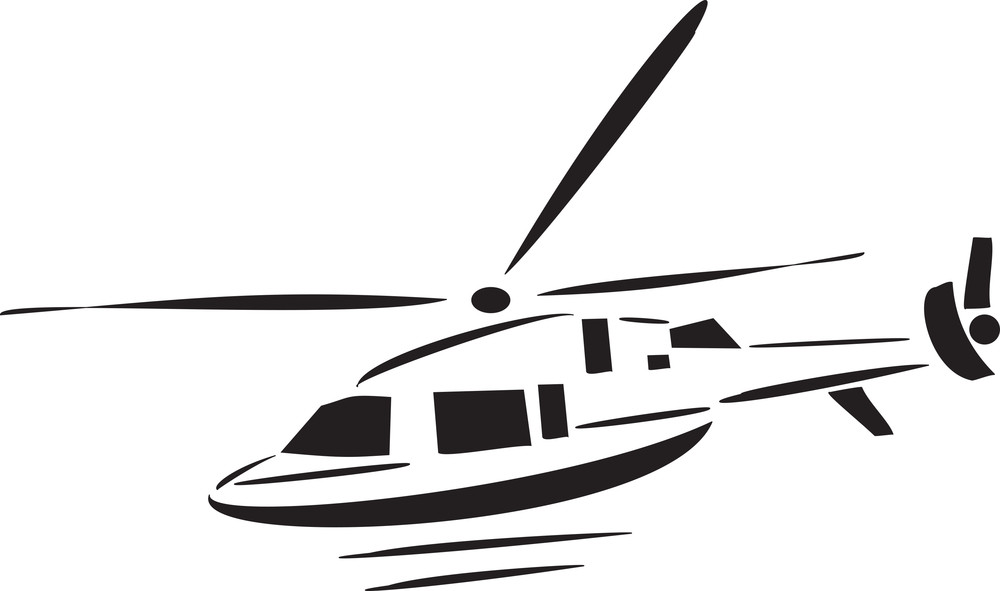 Black And White Illustration Of Landing Helicopter.