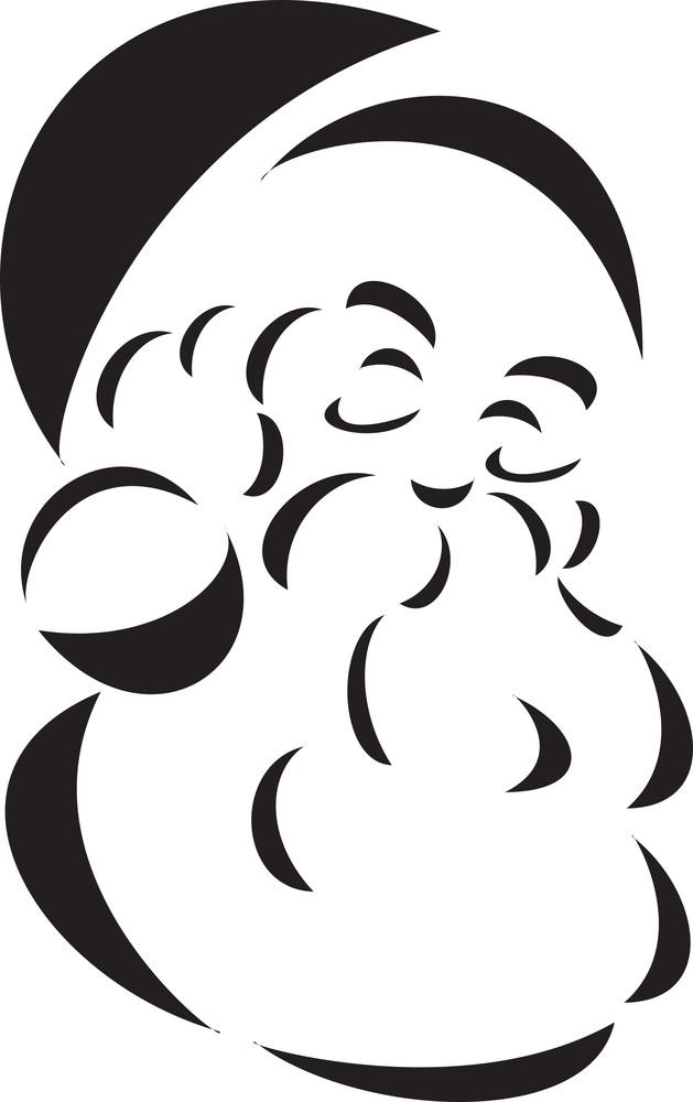 Black And White Illustration Of Santa Claus Face.