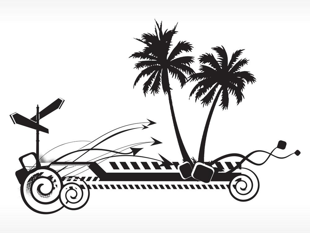 Black And White Summer Background Illustration