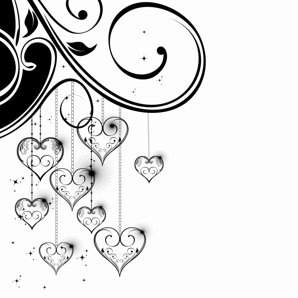 Black And White Valentine Heart Shapes Illustration.