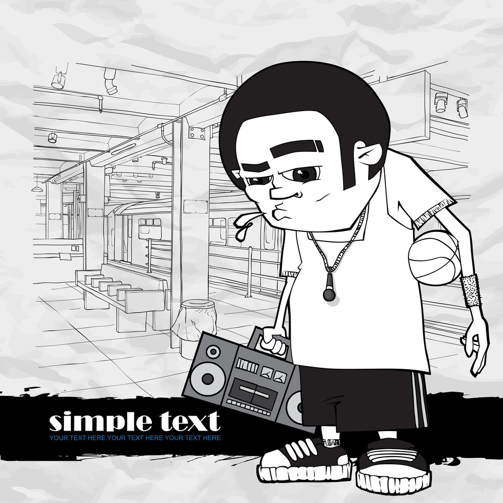 Black And White Vector Illustration Of Basketball Character At  Subway Station.
