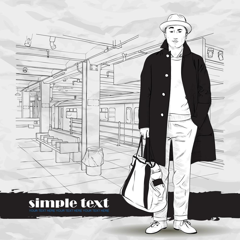 Black And White Vector Illustration Of Stylish Autumnal Guy At  Subway Station.