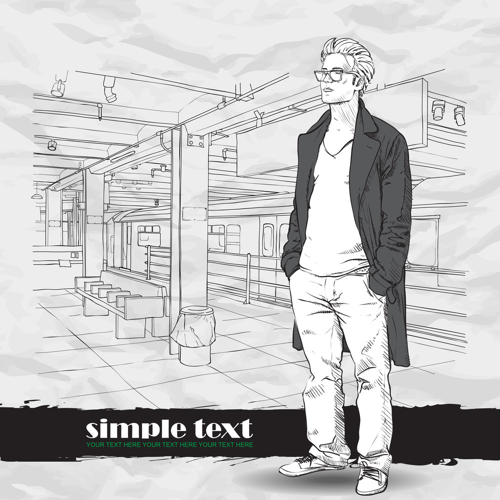 Black And White Vector Illustration Of Stylish Guy At  Subway Station.