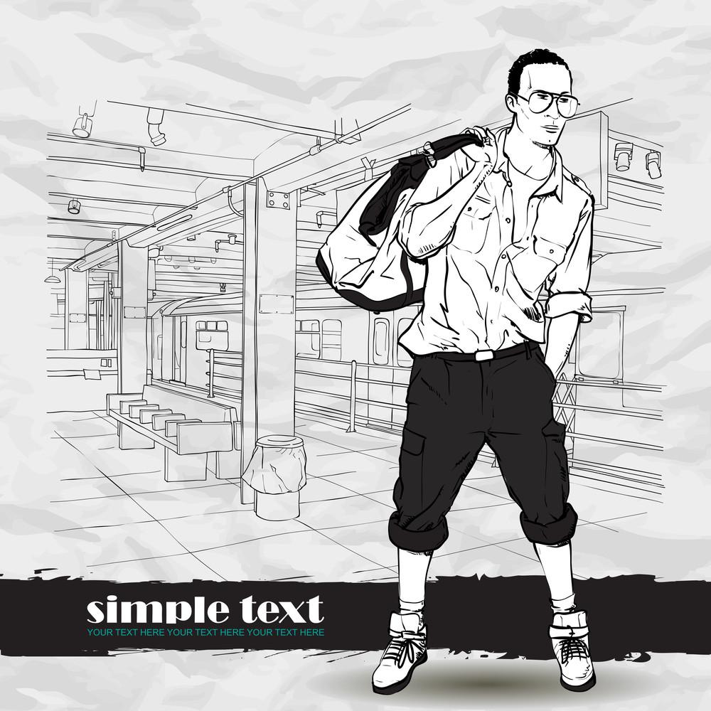 Black And White Vector Illustration Of Stylish Guy At  Subway Station.