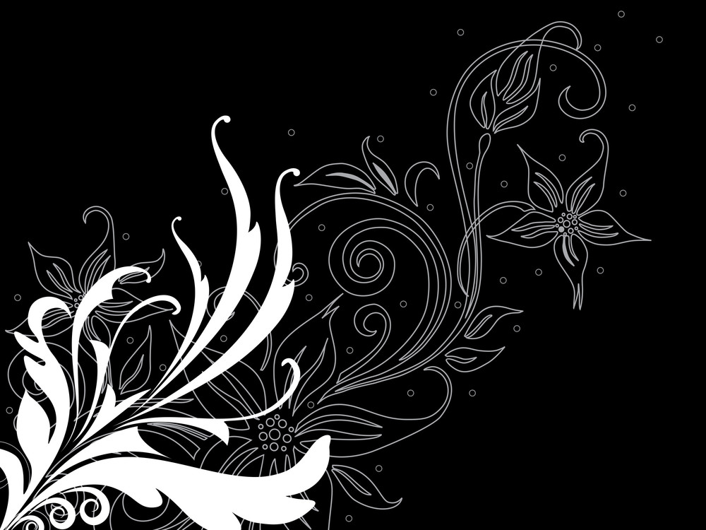 Black Background With Floral Pattern