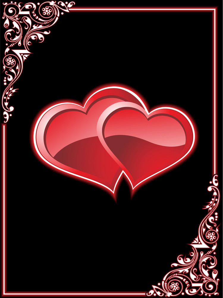 Black Background With Pair Of Red Heart