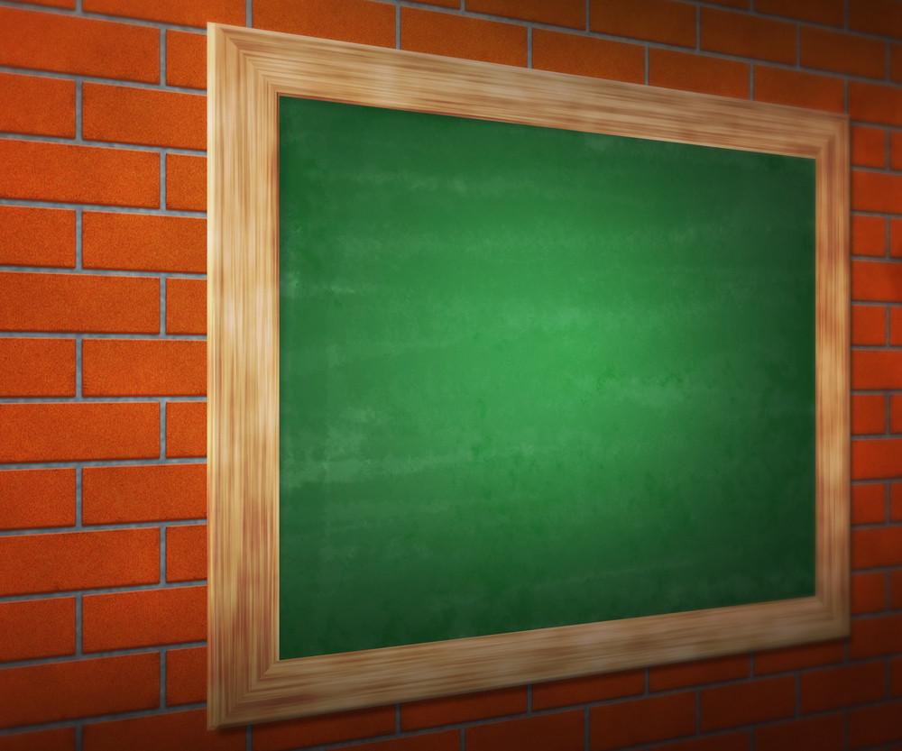 Black Board On Brick Wall