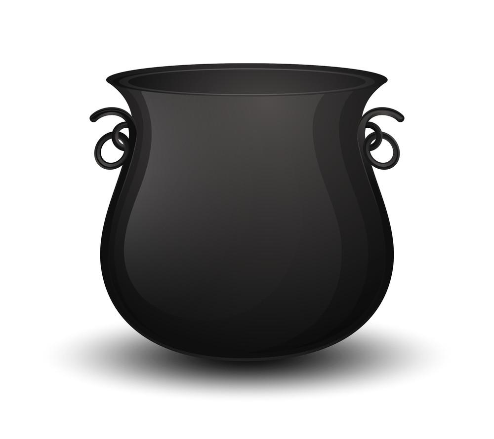 Black Cauldron Vector Shape Design