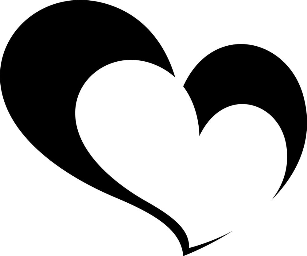 Black Divided Heart