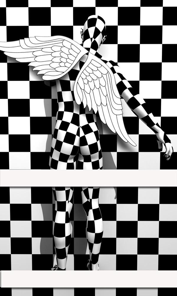 Black End White Checkered Angel